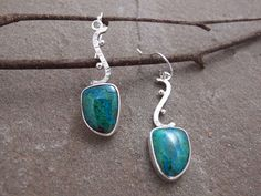 Green Chrysocolla Sterling Silver Earrings Metalwork Gemstone Cabochon, by bluepirahha