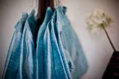Antique Blue Dupioni Silk Bridesmaid dresses