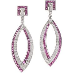 Pre-owned Art Deco Ruby Diamond Platinum Pendant Earrings (€9.205) ❤ liked on Polyvore featuring jewelry, earrings, dangle earrings, ruby earrings, platinum diamond earrings, diamond pendant and ruby pendant