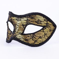 Golden Lace. Striking yet delicate, this beautiful lace mask is crafted in a simple Colombina style using thoughtful materials and fabrics. vivomasks.com Lace Masquerade Masks, Lace Mask, Black Trim, Delicate, Crystals, Unique, Gold, Crafts, Handmade