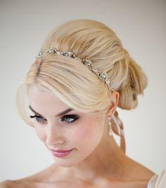 Ribbon and Rhinestone Headband Wedding Hair