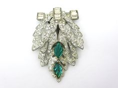 BigSALE Art Deco Dress Clip Green Leaves by VintageInBloom