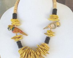 """Check out Vintage Wood Chunky 22"""" Necklace, Yellow,Brown,Tan Beads, 2 Carved Wood Parrots,Brass Screw-On Clasp,Excellent Vintage Condition,VJ2000N on ckdesignsforyou"""