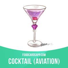 The Aviation is a classic cocktail made with gin, maraschino liqueur, crème de violette, and lemon juice.  #cocktail #cocktails #alcohol #drink #drinks #beverage #beverages #english #englishlanguage #learnenglish #studyenglish #language #vocabulary #dictionary #englishlearning