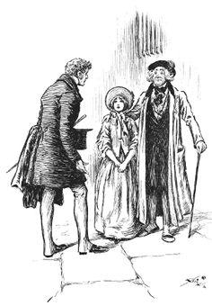 """Arthur speaking to Little Dorrit and her father; taken from """"Little Dorrit""""."""