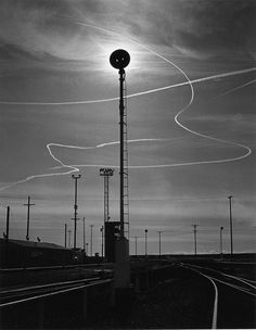 Ansel Adams - Rails and Jet Trails. Roseville, California 1953. S)