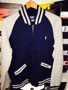 80748dbe1c7c Polo Ralph Lauren Mens Navy Gray Baseball Fleece Varsity Track Jacket Large  L