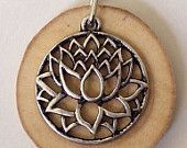Lotus flower charm Essential Oil Diffuser Necklace Made with Magnolia Wood