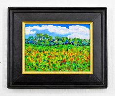 """Sunflowers. Rio Grande valley Original southwest andscape painting with or without a reclaimed wood frame. 9"""" x 12"""" by Robert Price. www.etsy.com/shop/robertpricegallery"""