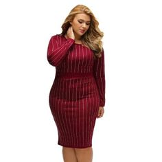 AdoreWe - CHICUU Plus Size Rhinestone Stripe Round Neck Bodycon Midi Dress - AdoreWe.com