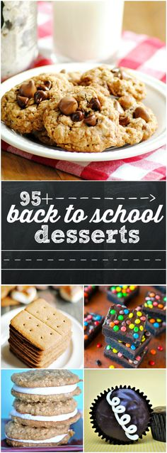Over 95 dessert recipes that are awesome for back to school time, including copy cat recipes of classic treats and great on-the-go treats! Desserts To Make, Köstliche Desserts, Delicious Desserts, Dessert Recipes, Yummy Food, Salad Recipes, Healthy Food, Baking Recipes, Cookie Recipes
