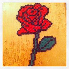 Red rose hama beads by jij420