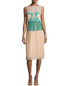 Jenna+Paint+and+Lace+Pleated+Dress+by+Nicole+Miller+at+Neiman+Marcus.