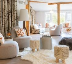 Modern Cabin Living Room with Gray Chairs and Orange Pillows - Contemporary - Living Room Living Room Stools, Living Room Decor, Feng Shui, Lounge, Modern Moroccan, Rustic Elegance, Grey Walls, Stowe Vermont, Outdoor Areas