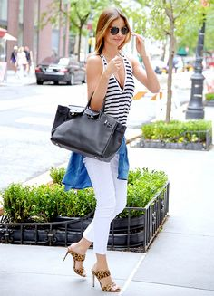 Striped tank, white denim, Miu Miu mules.