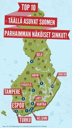 TOP 10 - täällä asuvat Suomen parhaimman näköiset sinkut! #infographics #kartta #houkuttelevuutta #seksikkyys