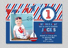 Nautical Sailboat Birthday Invitation by TheTrendyButterfly Beautiful Birthday Cards, Cool Birthday Cards, 1st Birthday Parties, Birthday Ideas, Third Birthday, Birthday Template, Birthday Invitation Templates, Nautical Birthday Invitations, Baby Shower