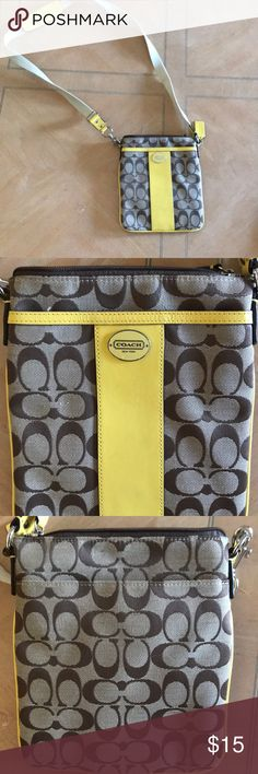 Coach cross body NWOT coach cross body, yellow accents. All offers welcomed and all bundles encouraged. I'm trying to move so stay tuned for more great things. My loss is your gain Bags Crossbody Bags