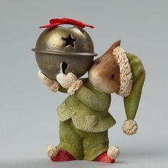 Christmas Mouse with Jingle Bell Figurine