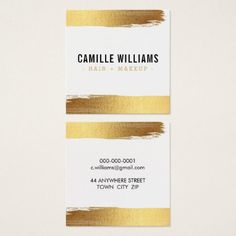 #makeupartist - #GLAM MINIMALIST luxury faux gold foil brush stroke Square Business Card