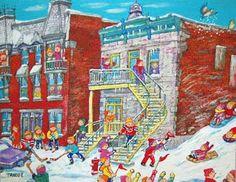 Miyuki TANOBE - Jeux d'hiver sur la rue Laurier Urban Life, Reno, Art Plastique, Artworks, Paintings, Draw, Illustrations, Landscape, Creative