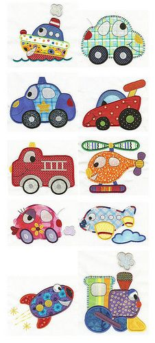 On the Move Applique. Look like colouring book images-another great source for appliqué. Machine Embroidery Applique, Free Machine Embroidery Designs, Applique Patterns, Applique Quilts, Applique Designs, Quilt Patterns, Patchwork Quilting, Sewing Patterns, Applique Ideas