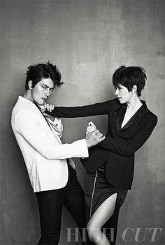 Han Hyo-joo & Jung Woo-sung // High Cut Korea // Vol. Korean Actresses, Asian Actors, Korean Actors, High Cut Korea, Jung Woo Sung, Han Hyo Joo, Fashion Model Poses, Korean Wedding, Ulzzang Couple