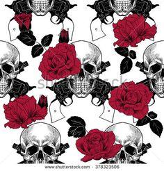 stock-vector-skulls-red-roses-and-pistols-vector-seamless-pattern-378323506.jpg (450×470)