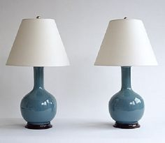 Christopher Spitzmiller single gourd lamp. That teal color will work with everything.