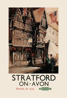 ENGLAND TRAVEL Poster STRATFORD upon Avon by EncorePrintSociety