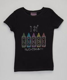 Look what I found on #zulily! Black '1st Grade Rocks' Bling Tee - Toddler & Girls #zulilyfinds