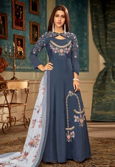 Blue Muslin Digital Print Ceremony A-Line Gown Indian Designer Outfits, Designer Gowns, Latest Gown Design, Gown Dress Online, Gown Party Wear, Stylish Gown, Embroidery Suits Design, Embroidery Dress, Hand Embroidery