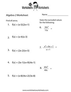 algebra 2 printable worksheets with answers math worksheets dynamically created. Black Bedroom Furniture Sets. Home Design Ideas