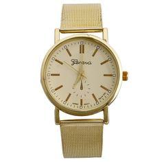 Hot Sale! New 2016 Men Male Gold Quartz Wrist Watch Fashion Analog Stainless Steel Mesh Strap Men'S Bracelet Watches Reloj