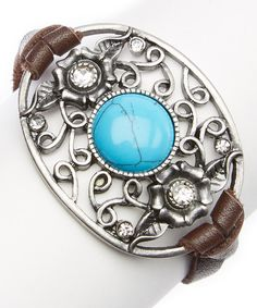 Look at this I Love Accessories Brown Leather & Turquoise Filigree Pendant Bracelet on #zulily today!