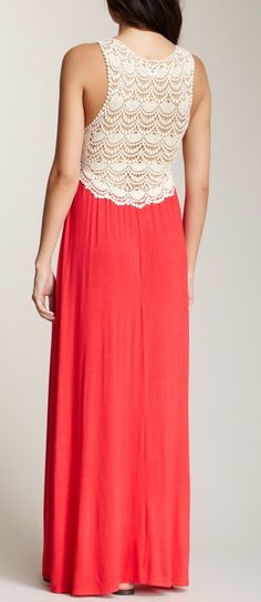 Crochet back maxi dress I have a dress just like this. #corallove