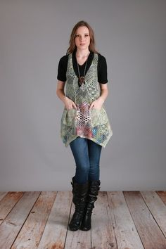 10% OFF EASTER SALE-Crocheted Vest w/Big Button (Multiple Colors)