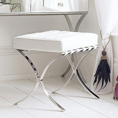 Barcelona Dressing Table Stool - Chairs & Stools - Furniture 	 Barcelona Dressing Table Stool	 SXT8476	 H.49cm W.51cm D.40cm