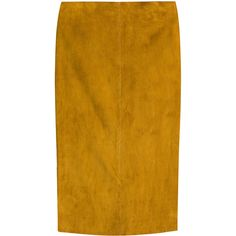 Jitrois Suede Pencil Skirt ($1,275) ❤ liked on Polyvore featuring skirts, yellow, stretch skirts, suede skirt, pencil skirt, knee length pencil skirt and stretchy pencil skirt