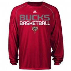 cadb6e46f18 Milwaukee Bucks Adidas NBA Stacked High Longsleeve T-Shirt (Red)