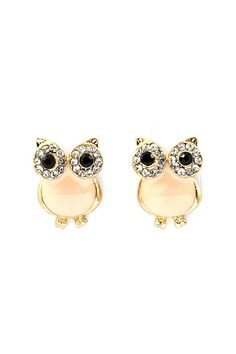 Peachy Crystal Owl Earrings ♥