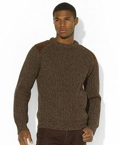 Polo Ralph Lauren Sweater, Suede-Patch Ragg Sweater