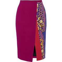 Peter Pilotto Ria printed stretch-cady pencil skirt ($520) ❤ liked on Polyvore featuring skirts, purple, button pencil skirt, purple skirt, multi colored skirt, colorful pencil skirts and purple pencil skirt