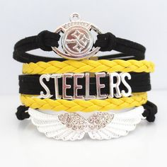 INTRODUCTORY 50% OFF SALE! Brand new for 2016 season! Introductory special - Be one of the first to get one of these pretty Love Pittsburgh Steelers Football Bracelets at 50% Off retail. Show off your