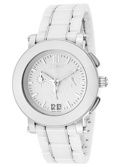 Women's Chronograph White Dial White Ceramic and Stainless Steel