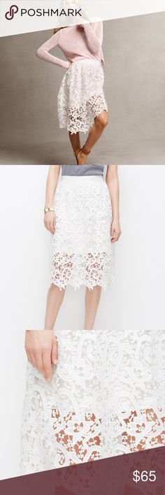 Ann Taylor white lace overlay skirt White lace overlay skirt.  New with tags.  Size 12R.  Elastic waistband is off white and there are indentations in elastic from hanger, shown in last pic. Ann Taylor Skirts Midi