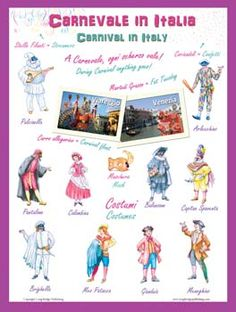 Italian Language Poster - Carnevale / Carnival: Bilingual Chart for Classroom and Playroom. Includes most common Carnival related words and traditional stock characters.