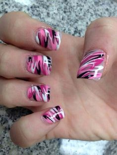 I wouldn't choose these colors, but cute camo nail designs, gel nail Camo Nail Designs, Short Nail Designs, Nail Art Designs, Toe Designs, Nails Design, Pink Camo Nails, Camouflage Nails, Great Nails, Cute Nails