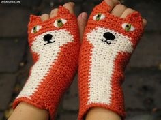 FOX FINGERLESS GLOVES Orange  Free Shipping Worldwide by Pomber