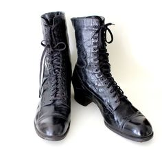 RESERVED Antique 1800s Black Leather Boots Thayer MacNeil Boston